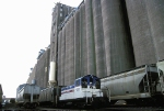 Harvest States 200, EMD SW1 works the massive grain elevators at the Lake Superior docks